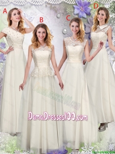 Feminine Champagne Laced Wholesales Dama Dresses with Appliques