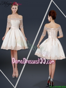 New Arrivals Off the Shoulder Appliques Champagne Short Dama Dresses