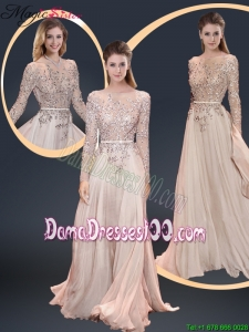Cheap Brush Train Champagne Dama Dresses with Beading for 2016