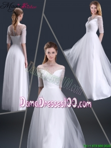 Popular Off the Shoulder Half Sleeves Dama Dresses with Beading