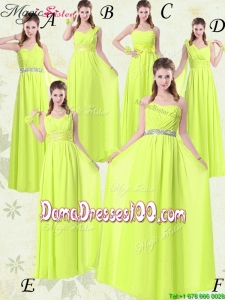 Pretty Empire Floor Length Belt Group Buying Dama Dresses in Yellow Green for 2016 Spring