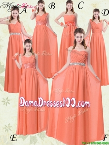 Simple Empire Floor Length Dama Dresses with Ruching and Belt