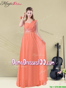 Affordable One Shoulder Floor Length Long Dama Dresses with Ruching and Belt