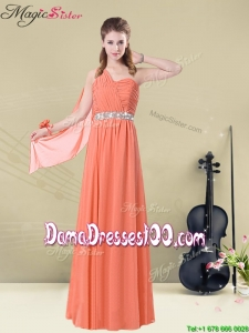 Cheap Empire One Shoulde Dama Dresses with Ruching and Belt for Fall