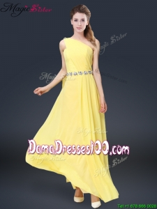 Fashionable One Shoulder Dama Dresses in Yellow
