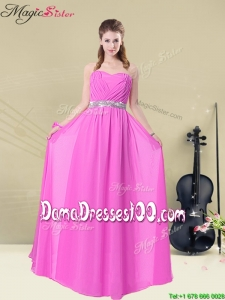 Gorgeous Empire Sweetheart Long Dama Dresses with Ruching and Belt