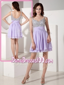 2016 Lovely Short Sweetheart Beading Dama Dresses in Lavender