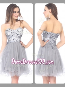 2016 Perfect Sweetheart Lace Up Short Grey Dama Dresses with Beading