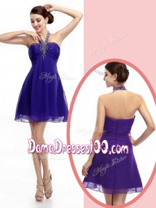 2016 Simple Halter Top Purple Short Prom Dama Dresses with Beading