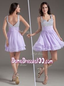 2016 Simple Straps Mini Length Lavender Dama Dresses with Beading