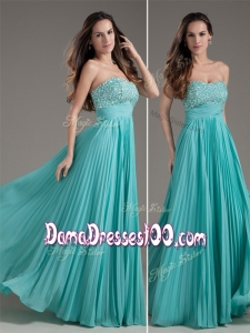 Classical Empire Strapless Turquoise Long Affordable Dama Dresses