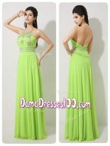 Classical Halter Top Beading Affordable Dama Dresses for 2016