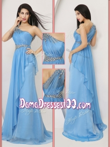 Affordable Brush Train One Shoulder Cute Dama Dresses with Beading and Ruching