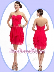 Beautiful Mini Length Sweetheart Cute Dama Dresses with Hand Made Flowers and Ruching