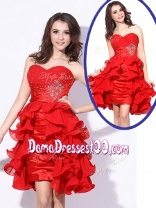 Best Sweetheart Red Short Junior Dama Dresses with Beading and Ruffles