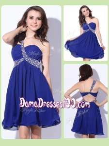 Fashionable One Shoulder Criss Cross Cute Dama Dresses with Beading
