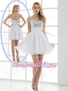 Fashionable Straps Sequins Short Cute Dama Dresses for Graduation