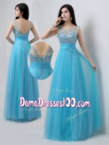 Pretty Scoop Empire Beading Cute Dama Dresses in Baby Blue