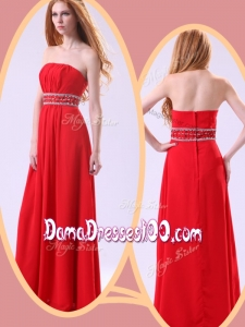 Simple Empire Strapless Red Cute Dama Dresses with Beading