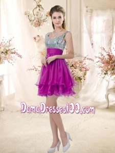 2016 Hot Sale Straps Short Dama Dresses Fuchsia with Sequins
