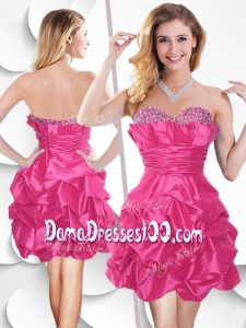 2016 Sweet Hot Pink Taffeta Dama Dresses with Beading and Bubles