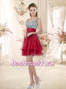 2016 Sweet Straps Sequins and Ruching Dama Dresses in Wine Red