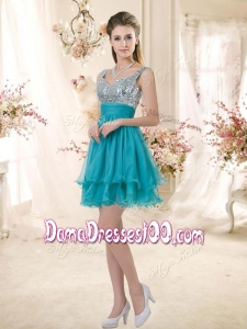 2016 Sweet Straps Short Sequins Dama Dresses in Teal