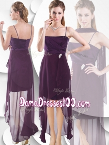 Latest Spaghetti Straps High Low Dama Dresses in Burgundy
