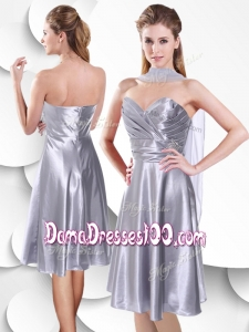 2016 Best Empire Elastic Woven Satin Silver Wholesales Dama Dress with Beading and Ruching