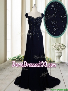 2017 Luxurious Brush Train Straps Cap Sleeves Navy Blue Dama Dress in Chiffon