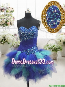 2017 Most Popular Two Tone Sweetheart Short Dama Dress with Beading and Ruffles