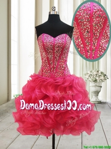2017 New Arrivals Visible Boning Beaded Bodice and Ruffled Hot Pink Dama Dress