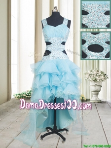 2017 Popular Beaded and Ruffled Layers High Low Aquamarine Dama Dress with Criss Cross