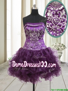 Exclusive Strapless Beaded and Ruffled Dark Purple Dama Dress in Organza