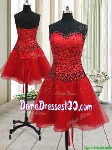 New Style A Line Sweetheart Red Short Dama Dress with Beading