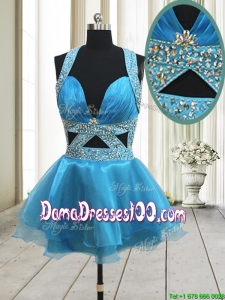 Perfect Beaded Decorated Halter Top Baby Blue Backless Dama Dress in Organza