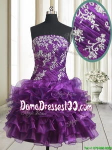 Pretty Strapless Organza Purple Short Dama Dress with Beading and Ruffled Layers