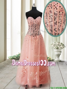 Pretty Visible Boning See Through Applique and Beaded Long Dama Dress in Tulle