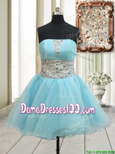 2017 Lovely A Line Strapless Zipper Up Aqua Blue Dama Dress with Beading