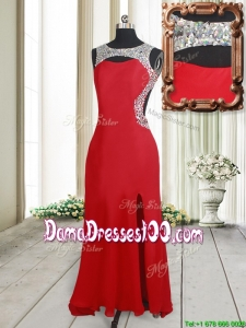 Affordable Beaded Decorated Scoop Elastic Woven Satin Dama Dress with High Slit