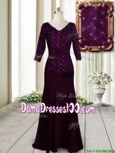 Classical V Neck Beaded and Laced Dark Purple Dama Dress with Half Sleeves
