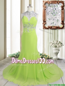 Unique Column High Neck Backless Spring Green Brush Train Dama Dress with Beading