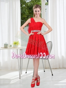 2015 The Most Popular One Shoulder A Line Dama Dresses with Ruching