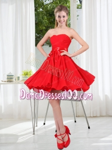 Pretty Ruching Strapless A Line Dama Dresses for 2015