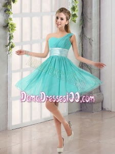 Natural One Shoulder A Line Ruching Lace Up Dama Dress