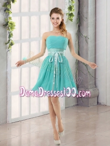 Perfect Belt Ruching Sweetheart A Line Dama Dress for 2015