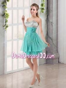 Sweetheart A Line Dama Dress with Sequins and Handle Made Flowers