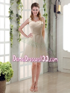 Champagne Ruched Handmade Flowers One Shoulder 2015 Dama Dresses
