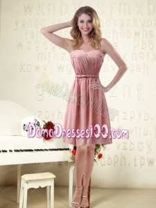 Sassy Sweetheart Ruched Dama Dresses in Chiffon with Waistband