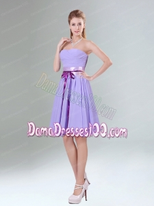 Decent Lavender Ruched Mini Length Dama Dress with Bowknot Sash